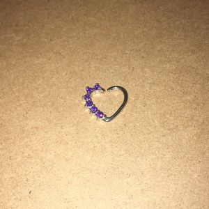 Right Ear Purple Heart Daith Jewelry
